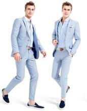Bespoke Men Morning Suits 2020 Tailcoat Groom Wedding Tuxedos Light Blue Yong Men Daily Work Wear Blazer Pants(Jacket+Pants+Tie)