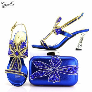 Excellent lady high heel sandal shoes and evening purse bag set perfect matching for evening dress 7438 royal blue