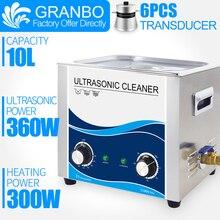 Nettoyeur Ultra sonique 360W puissance sonique 10L bain 40khz pour pièces commerciales nettoyage vélo voiture injecteur véhicule pièces de rechange