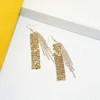 ajojewel bling bling big geometrical earrings woman tassel earrings long party earrings rhinestone