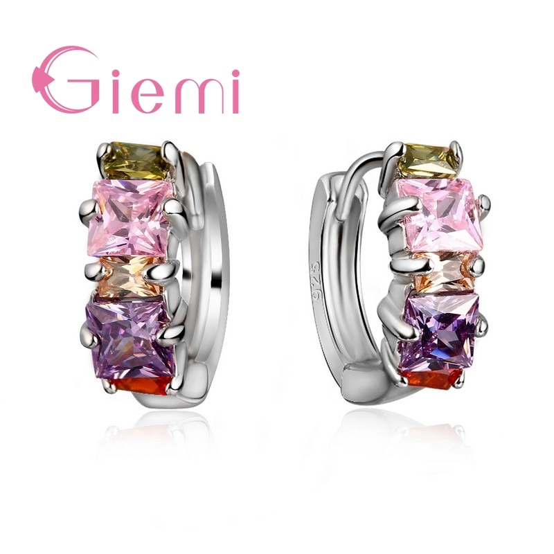 De Lujo 925 círculo de plata esterlina pendientes de aro colorido Cubic Zirconia cristal pendientes piercing Mujer Accesorios para las orejas joyería