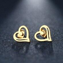 DOTIFI acier inoxydable boucle doreille pour femmes homme coeur or et argent couleur amant bijoux de fiançailles livraison directe