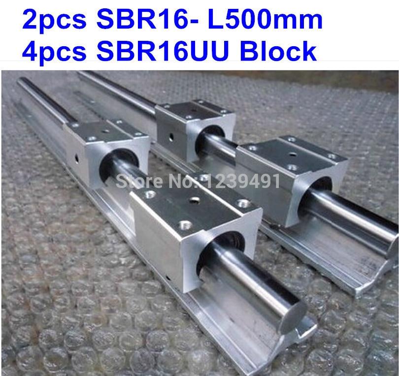 2 قطعة SBR16 L500mm دليل خطي + 4 قطعة SBR16UU كتلة cnc راوتر