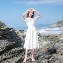 2019 New Summer Dress Women's ropa mujer robe femme Dress French retro over the knee fairy holiday white fairy Women Dress