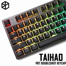 Taihao pbt 더블 샷 keycaps diy 게임용 기계식 키보드 백라이트 캡 oem 프로파일 라이트 블랙
