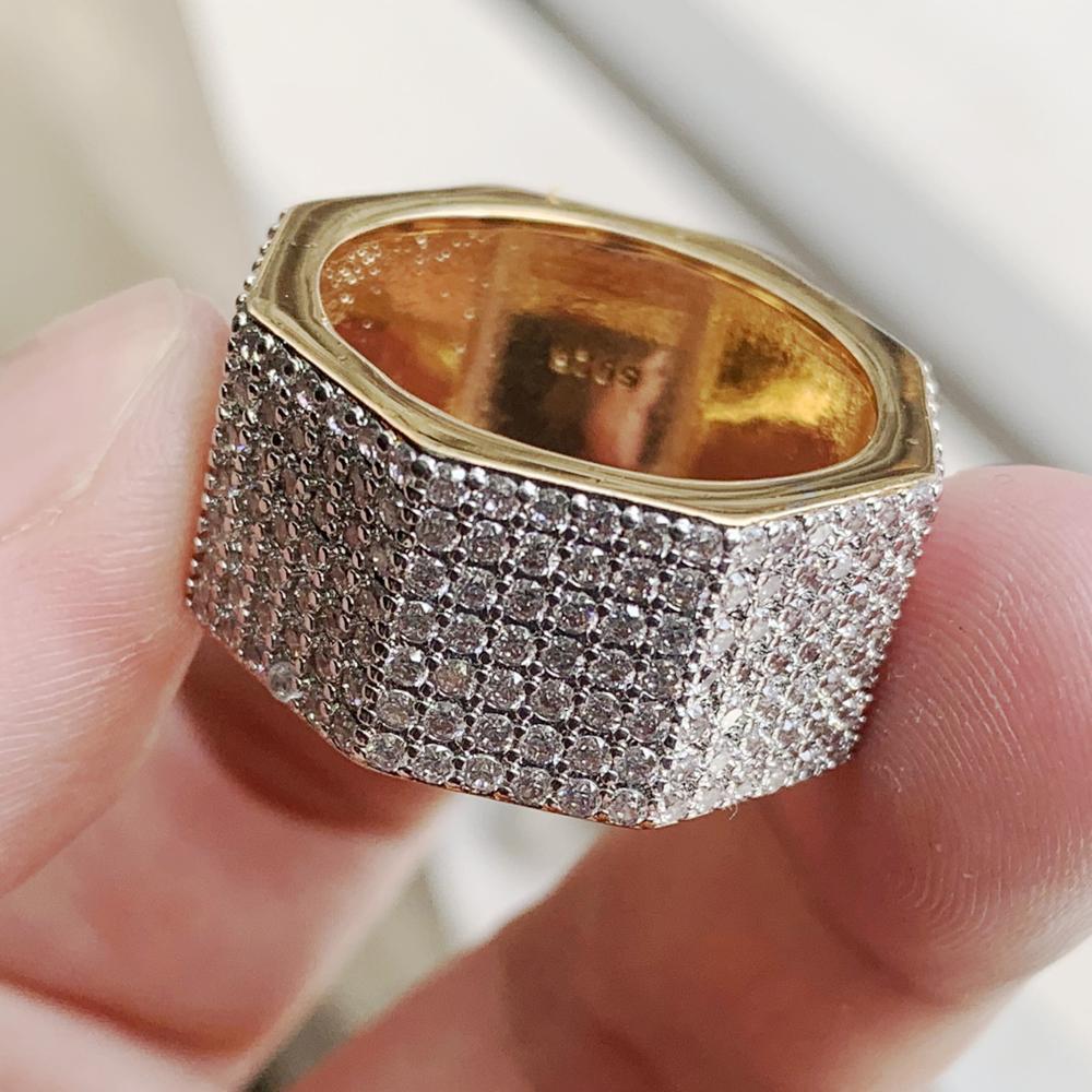 Taille 5-10 bijoux de luxe 925 en argent Sterling et or remplissage pavé blanc clair 5A zircon cubique éternité femmes bague de mariage cadeau