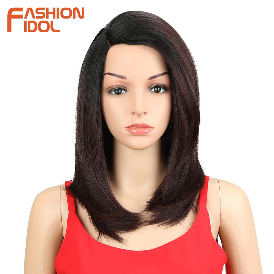 FASHION IDOL Wigs For black Women 18 inch Short Bob Hair Straight Synthetic Side Part Lace Wig Ombre Heat Resistant Cosplay Wig fashion side bang short straight orange charming kousaka honoka cosplay wig with double chignons