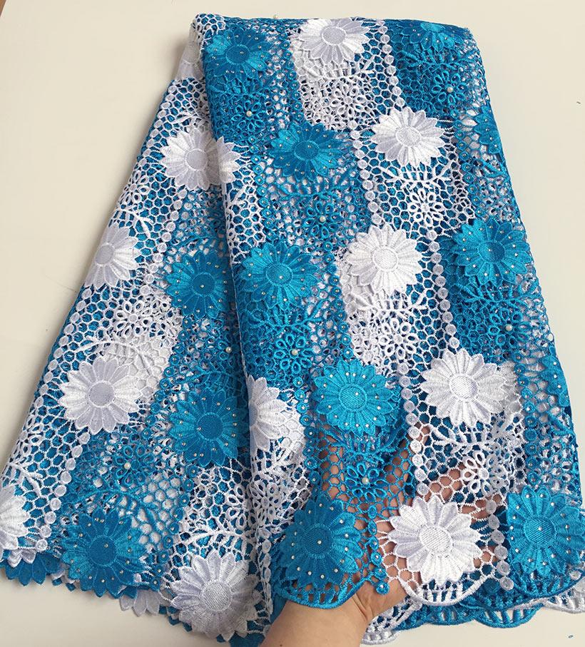 Turquesa azul branco girassóis bordado cabo rendas africano guipure tecido de renda com lotes de pedras contas alta qualidade
