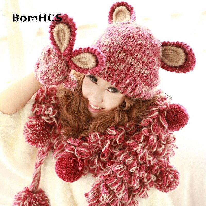 Bomhcs لطيف آذان أرنب الشتاء المرأة قبعة + قفازات 100% اليدوية حك قبعة دافئة قفازات (بدون وشاح)