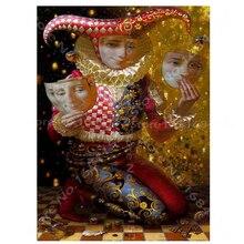 Peinture Daimond en mosaïque de diamant 3D bricolage   Masque point de croix, peinture Clown 3D, strass complets carrés, broderie B331, 100%