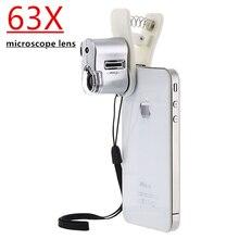 Apexel téléphone portable 63X Microscope loupe lentille optique Zoom télescope caméra lentille universelle pince LED lentille pour iPhone Samsung