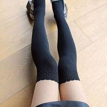 1pc Sexy noir couture dentelle faux genou bas Patchwork tatouage serré femmes filles pure pieds collants