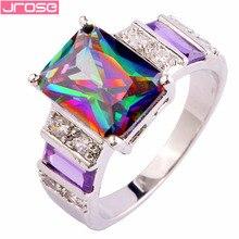 Кольцо JROSE Cocktail Fire, Радужное мистическое, фиолетовое, белое, серебряное, Размер 6 7 8 9 10 11 12 13, великолепные модные украшения, подарки