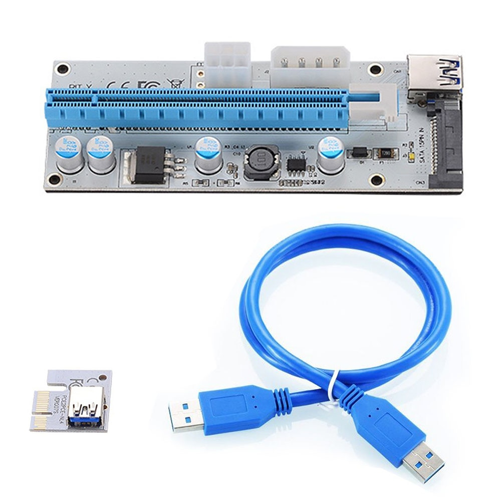 10 pièces VER008S 3 en 1 Molex 4Pin SATA 6PIN PCIE PCI-E PCI Express Riser carte 1x à 16x USB 3.0 câble pour lexploitation minière BTC Miner