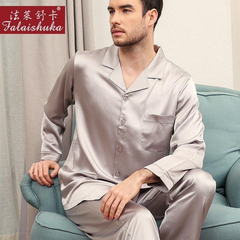 Пижама из 100% шелка 30 momme, Мужская пижама с длинным рукавом из натурального шелка