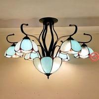 European creative painted glass chandelier living room Cafe Mediterranean idyllic LED flower glass chandelier