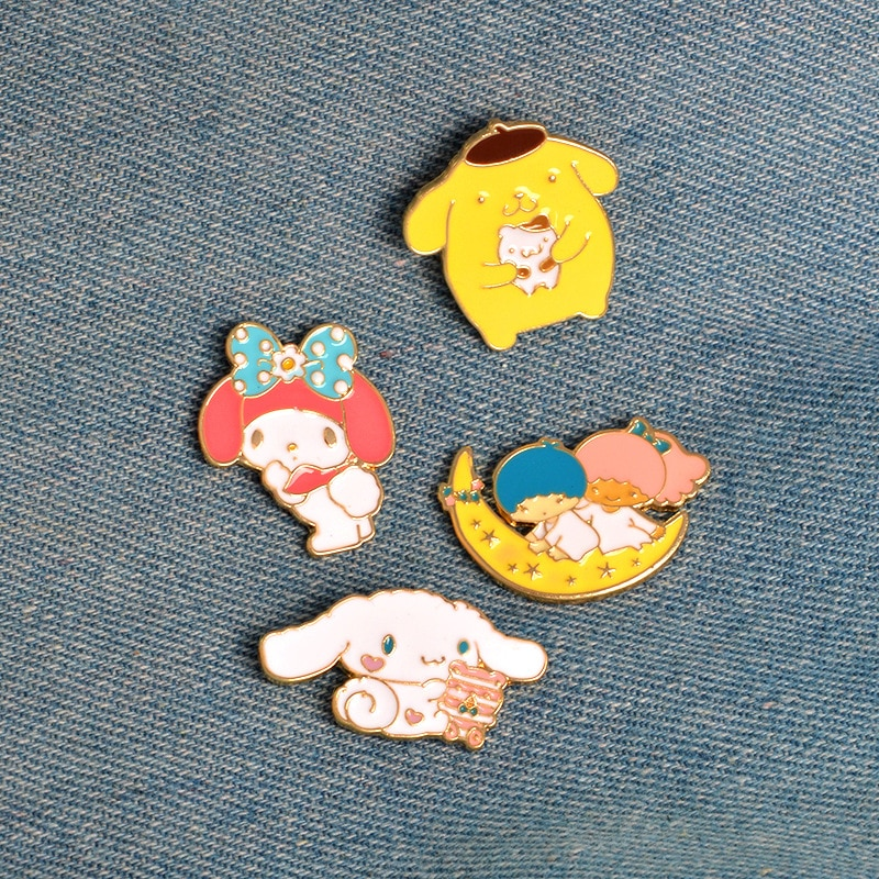 Новинка, металлическая брошь с эмалью на кнопках, с изображением мультяшной собаки, кролика, кота, Луны, для мальчиков и девочек, украшение на джинсы