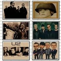 U2 affiche  Affiche de decoration pour ameublement de maison en irlande  Affiche de musique en roche acide Kraft  dessin  autocollant mural  6035