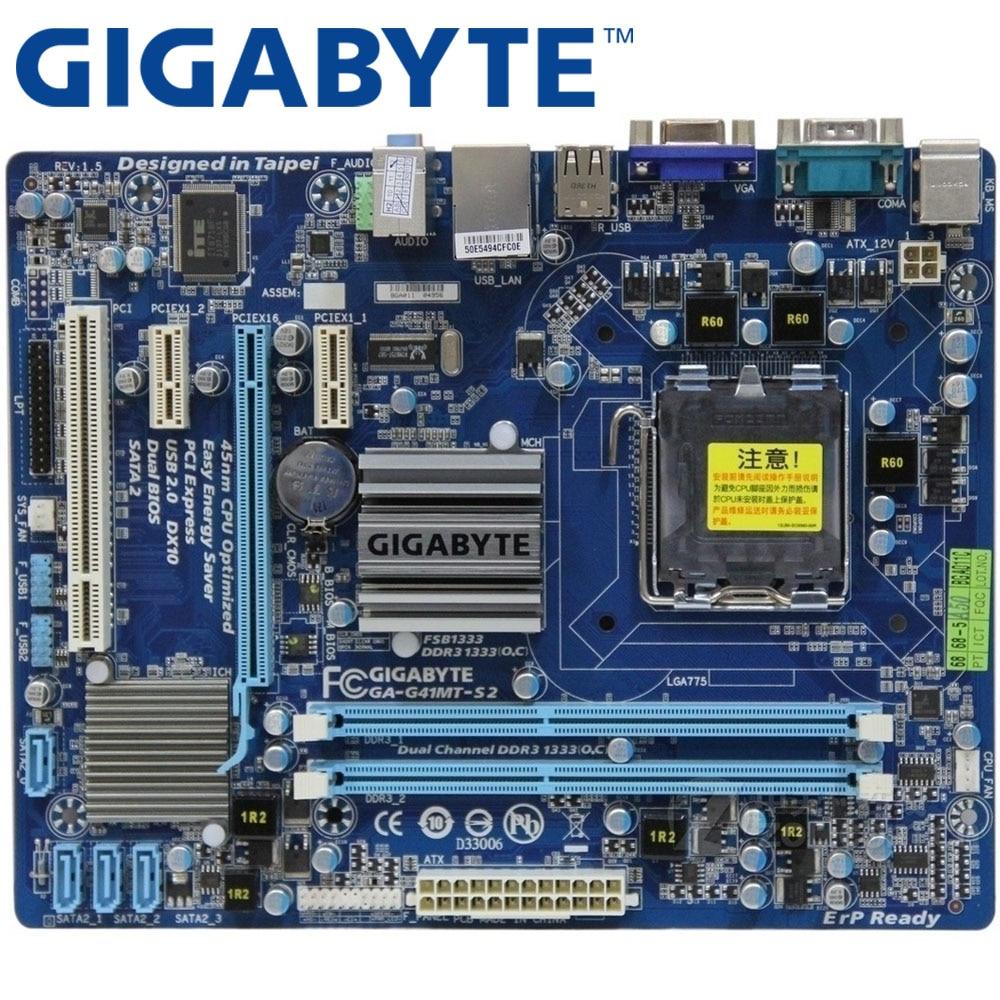 GIGABYTE GA-G41MT-S2 настольная материнская плата G41 Socket LGA 775 для Core 2 DDR3 8G Micro ATX оригинальная б/у G41MT-S2 материнская плата