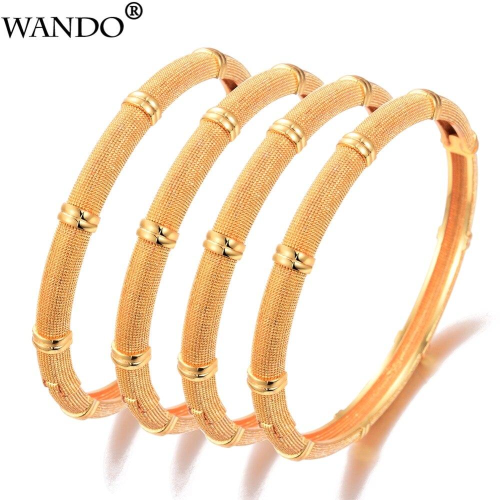 Wando, 4 Uds., joyería etíope, brazalete de bambú para mujer, pulsera de Dubái árabe, Color oro, joyería, venta al por mayor, accesorios africanos de Micronesia