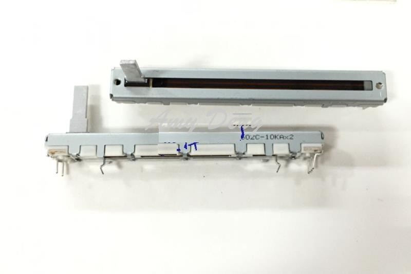 5 шт./лот Япония 7,5 см двойное прямое скольжение потенциометра A10K * 2 оси 15 мм фейдер RS60112A600N