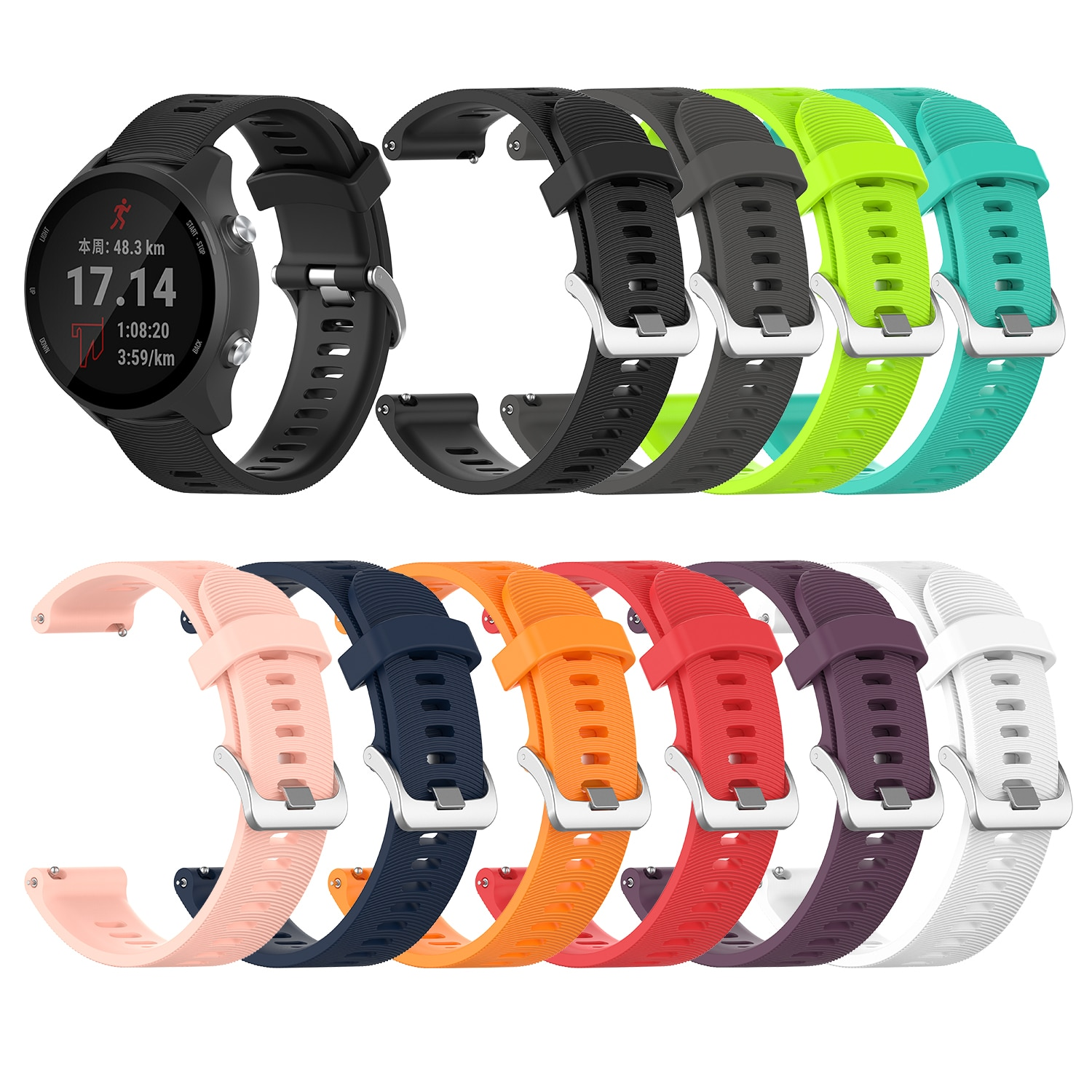 For Garmin 245 Strap Official Button Silicone Watch Band Sports Strap For Forerunner 245M/645/Vivoac