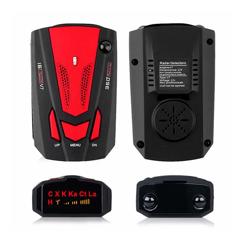 Sinal De Detectores de Radar do carro Dispositivo de Alerta Precoce Inglês/Russo Auto Veículo 360 Graus V7 Velocidade Aviso de Alerta De Alarme Por Voz