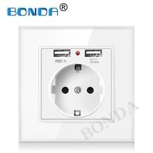 Eu Muur Power Plug Socket Met Usb Outlet, Glas 2A Dual Usb Charger Plug Stopcontact, 16A 2100ma Elektrische Stopcontact