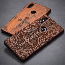 Boîtier Xiaomi mi mix 2s housse en bois accessoires de protection complète boîtier en bois ptu sculpté pour Xiaomi mi mix 2 2s 5.99