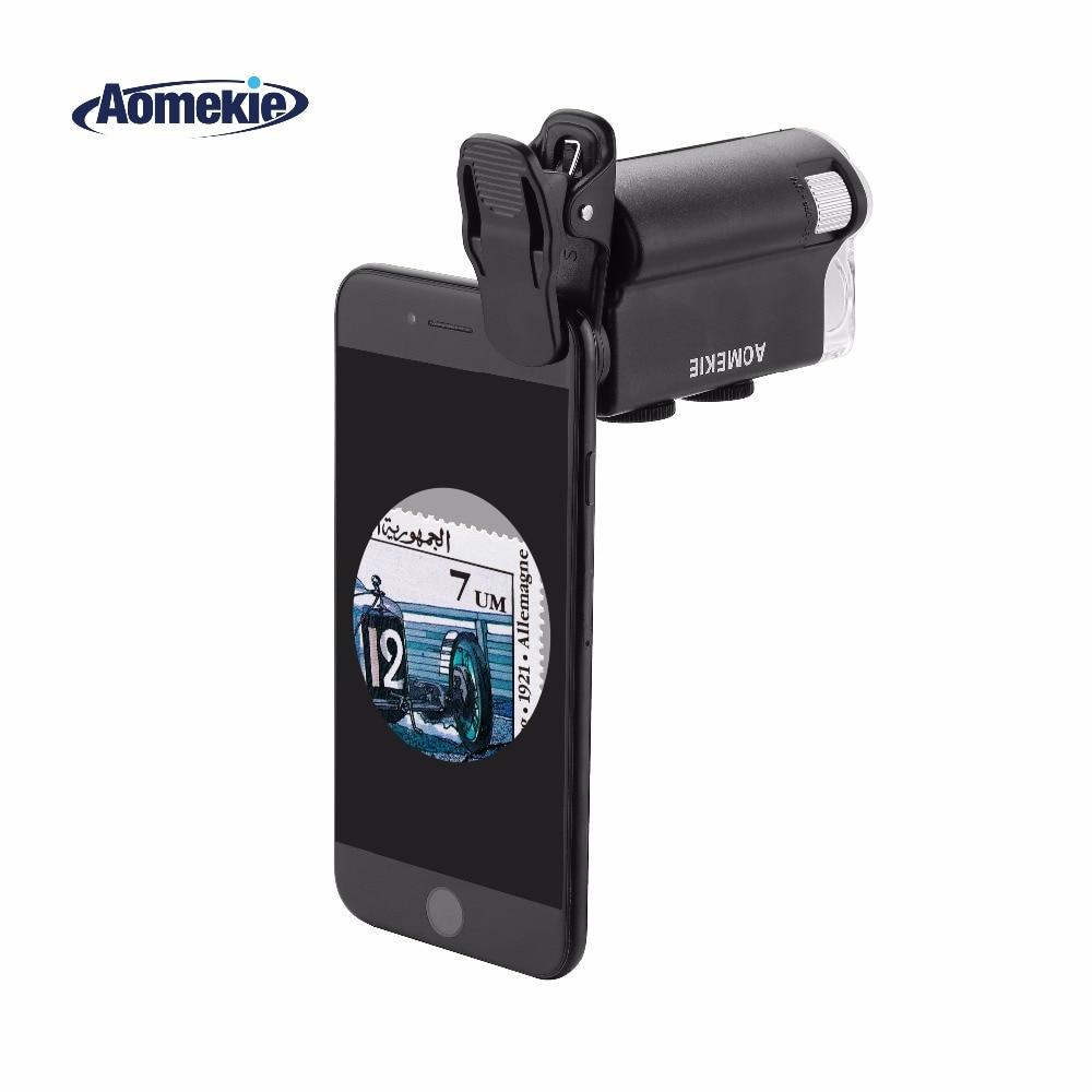 Увеличительный микроскоп AOMEKIE 60X-100X, увеличительный микроскоп для мобильного телефона, камеры, тканевый, биологический, наблюдение за ювелирных изделий, микроскоп со светодиодной подсветкой, УФ