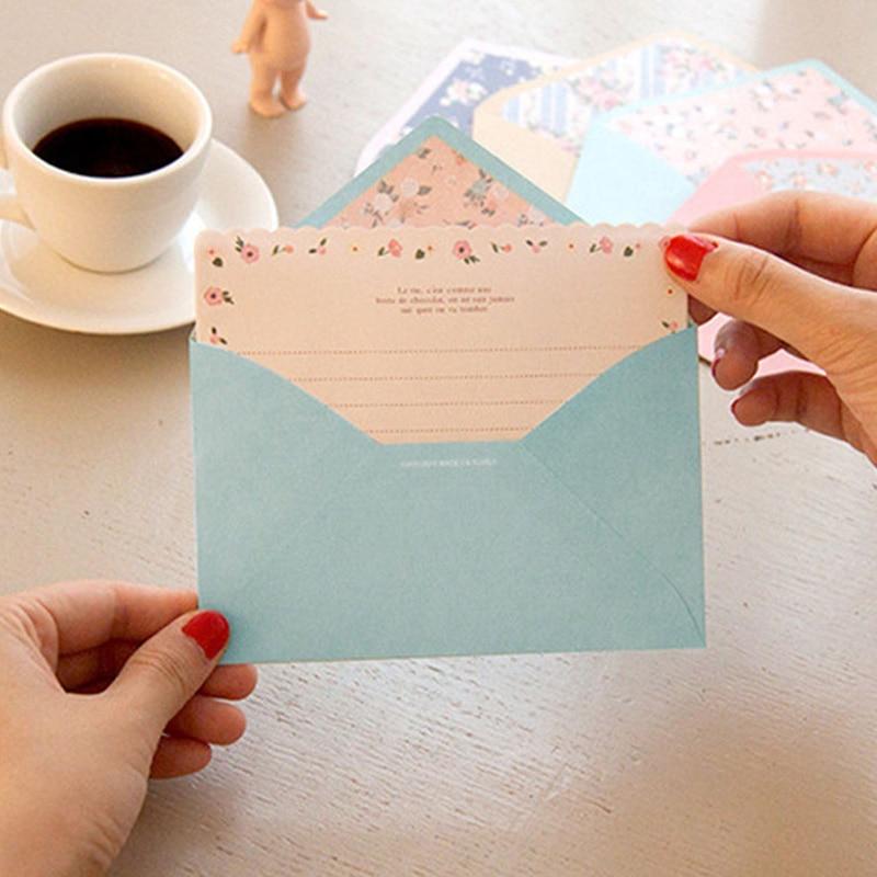 12 Sheet Lletter Paper+6 Pcs Envelopes Cute Finely Flower Letter pad Set Set Writing Paper Office&School Supplies