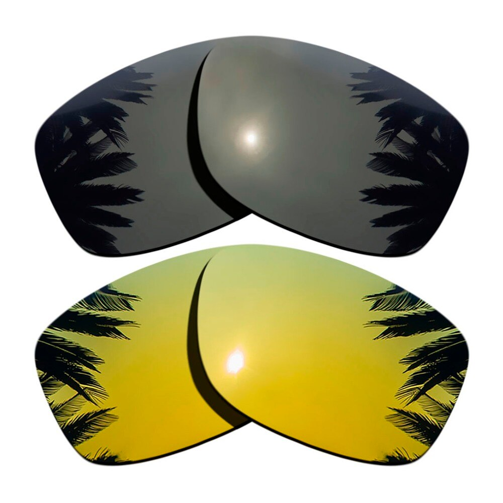 (Black+24K Gold Mirrored Coating) 2-Pairs Polarized Replacement Lenses for Jupiter Squared 100% UVA