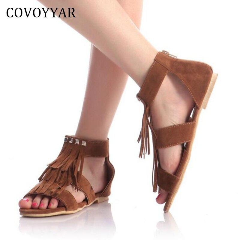 2019 sandalias con borlas de verano para mujer, Sandalias planas con tiras en forma de T, sandalias de gladiador con cremallera en la espalda, zapatos para mujer talla grande 35 ~ 43 WSS69