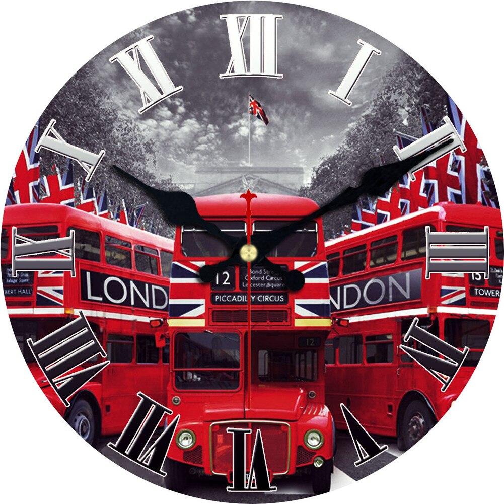 WONZOM Double-decker Bus Design Wall Clock For Home Decor, Wall Art Large Wall Watch, No Ticking Sou