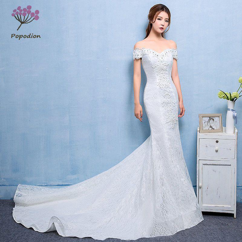 Popodion-فستان زفاف دانتيل حورية البحر ، أحجار الراين ، فستان زفاف ، 90437