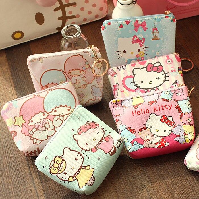 ¡Entrega aleatoria! Monedero Kawaii Mini de Hello Kitty, monedero Gemini pequeño y Gemini con estrella, estuche de piel sintética, estuche para llaves B61