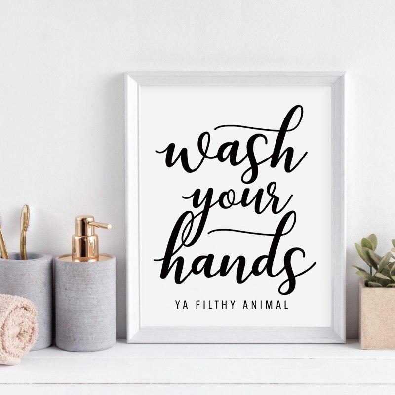 Мыть руки вы грязные Животные стены искусства холст плакат печать забавная ванная комната художественная работа с цитатами живопись черны...