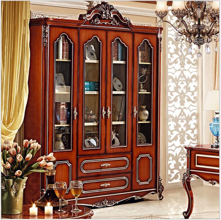 Estantería de madera maciza de estilo americano, 1,8 metros, combinación de estantería grande, acristalado de color, armario de cuatro puertas pfy4004