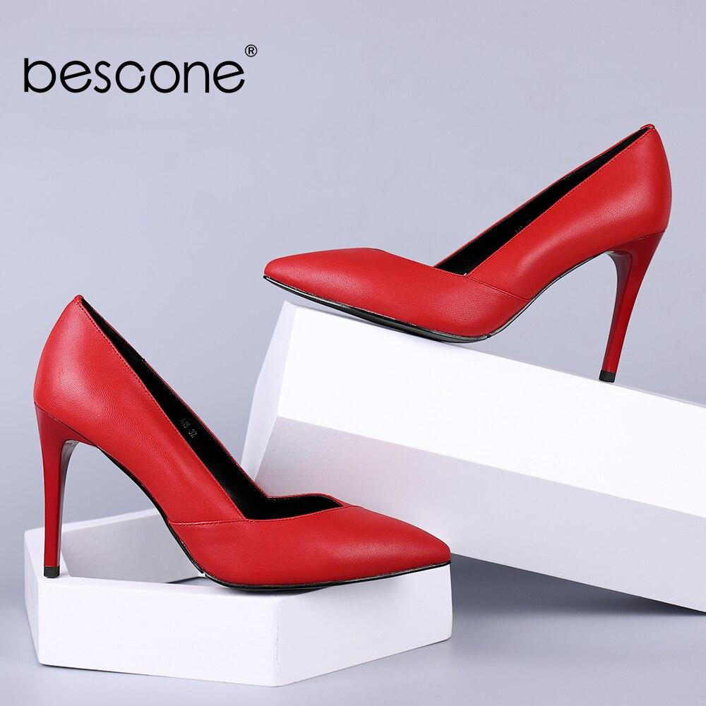 BESCONE czerwone pompy ślubne gorąca sprzedaż kolacja wysokie szpilki szpiczasty nosek seksowne buty damskie jakości prawdziwej skóry pumpy damskie A45