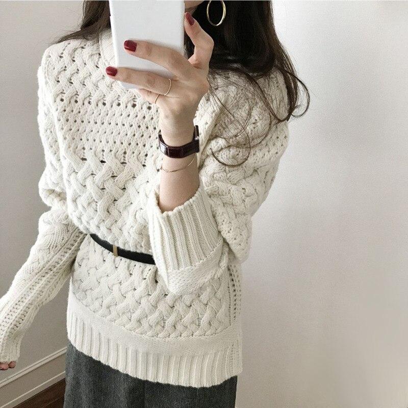 Otoño Invierno suéter de punto Mujer Vintage ahuecado Crochet suéter torcido suéter de punto jerseys señoras