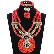 Magnifique Orange cristal nigérian africain perles de mariage bijoux ensemble Chunky bavoir Costume bijoux ensemble 2017 livraison gratuite ABH521