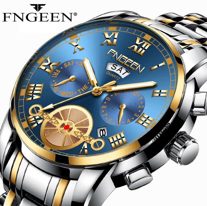 Men Watch Waterproof Quartz Business Mens Watches Top Brand Luxury Man Clock Date Week Display Casual Military Sport Wristwatch
