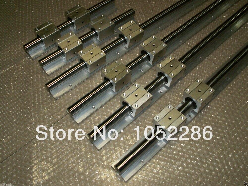 6 قطع SBR10-l400/600/1000 ملليمتر خطي السكك الحديدية + 12 قطع sbr10uu تحمل كتلة