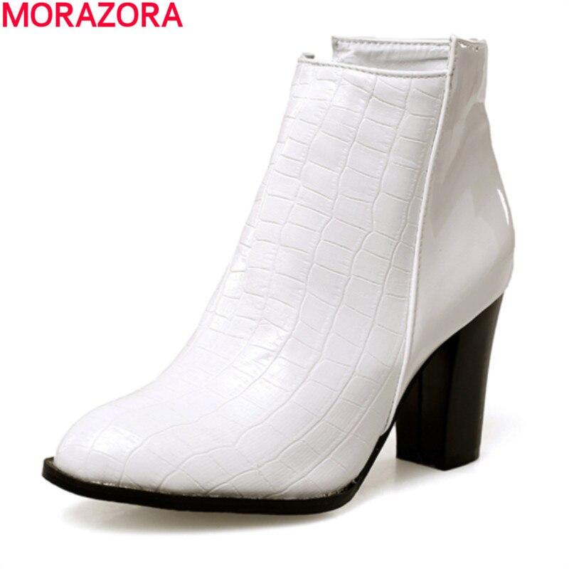 MORAZORA/Большие размеры 34 43 2020 г. Осенние однотонные черные и белые ботильоны