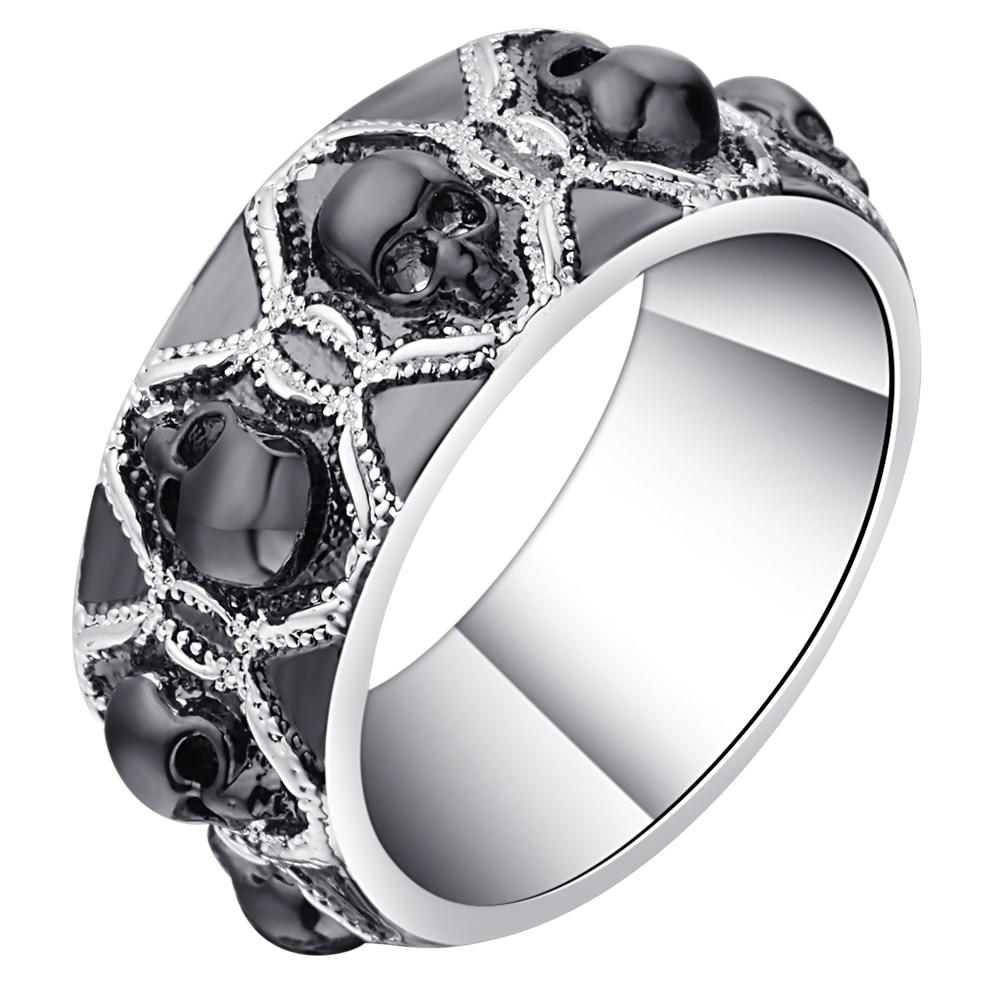 Anillos Hainon con diseño de calavera para hombres y mujeres, Color negro/plata, anillos de lujo con diseño de calavera para dedo, anillos Punk de talla 4-13 para fiesta de bodas