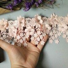 1 Yard Pembe 9 cm Inci 3D Çiçek Püskül Dantel Kenar Trim Şerit Kumaş Işlemeli Aplike Dikiş El Sanatları düğün elbisesi Elbise