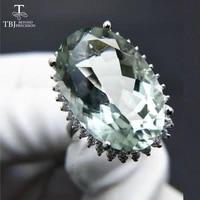 tbjbig green amethyst quartz gemstone partyeyes catching ring in 925 sliver as birthday wedding nice gift with jewelry box
