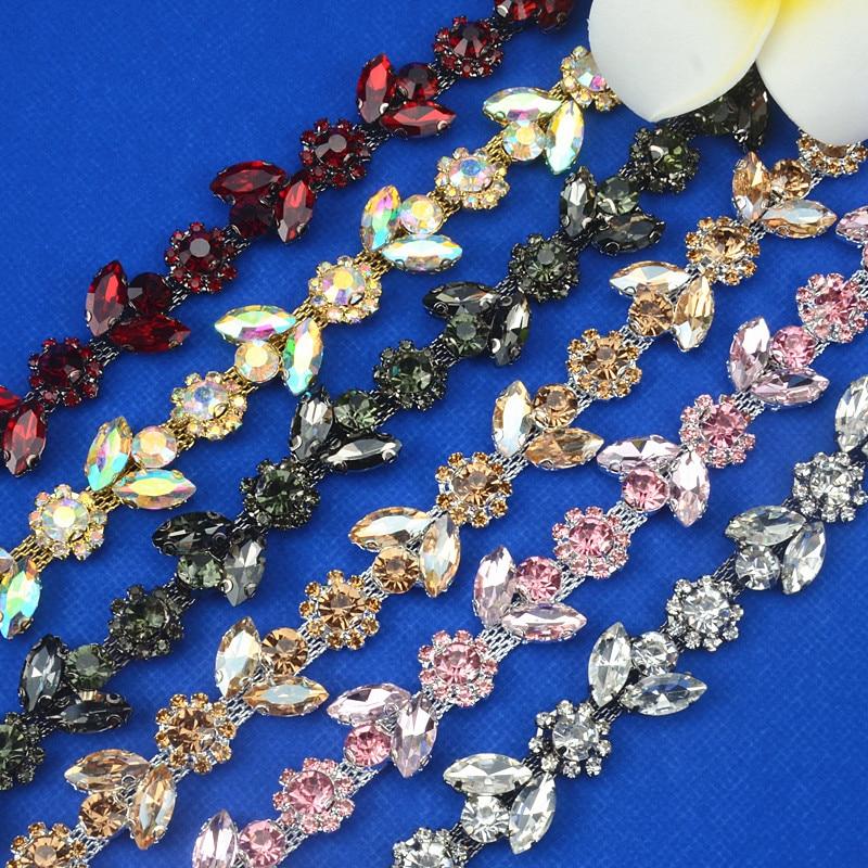 1 Yard Beautiful Rhinestone Crystal gun Tone Chain Costume Applique Trims Sewing