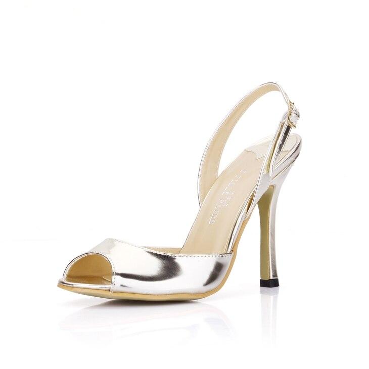 Nuevas sandalias de moda para mujer con hebilla de correa trasera con punta Baja y zapatos de fiesta de verano de charol para mujer con tacones finos grandes tamaño