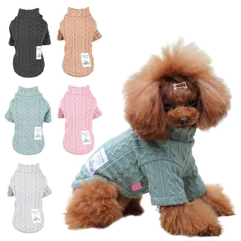 Suéteres para perros de doble patrón de cuello alto para cachorros ropa de invierno cálida para cachorros suéteres de punto para mascotas traje de punto barato